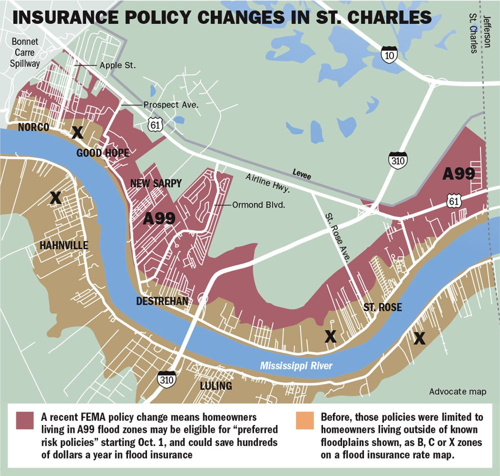 st charles flood map. thousands in st charles parish may be eligible for lower flood