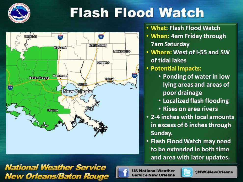 Flash flood watch issued for Baton Rouge, Lafayette areas until Saturday; 6-plus inches of rain possible _lowres