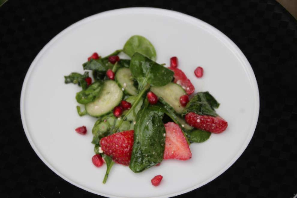 Spinach Salad With Strawberries, Cucumber and Pomegranate Seeds _lowres
