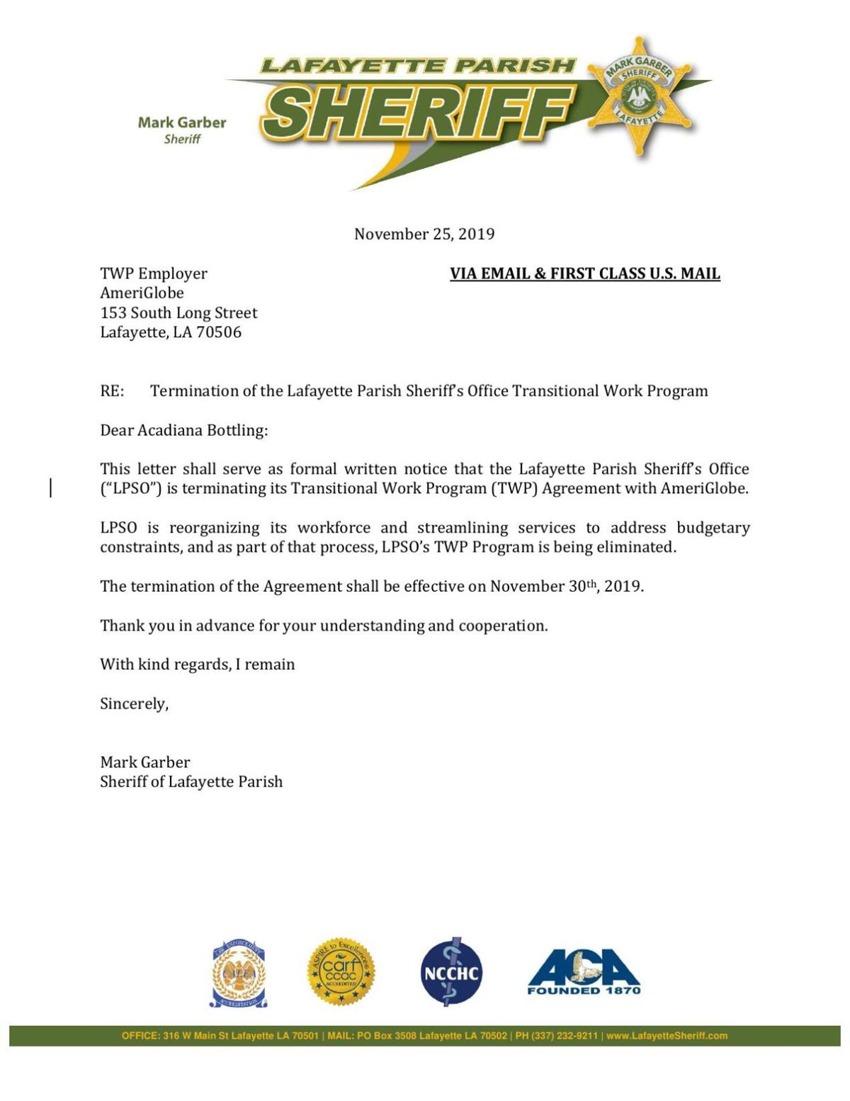 LPSO Transitional Work Program termination letter