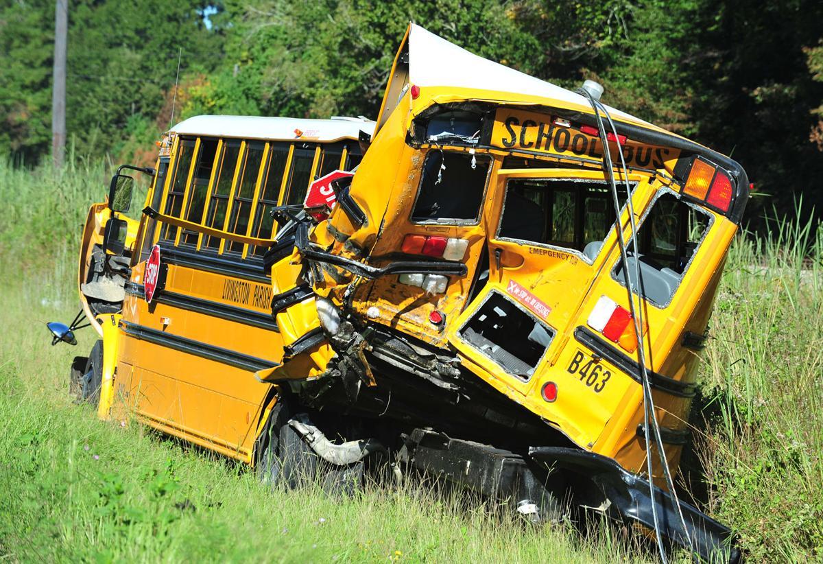 18-wheeler, school bus crash in Livingston, causing truck to