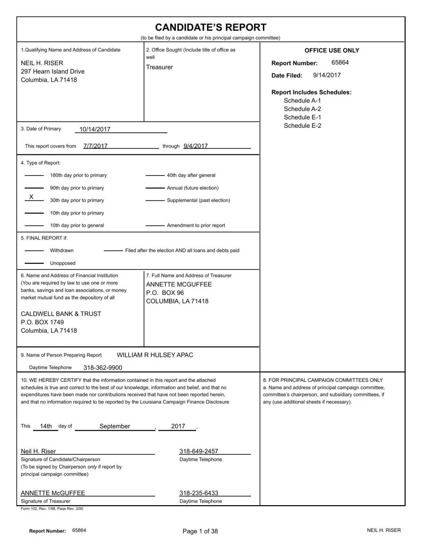 Neil Riser Campaign Finance Report 091417