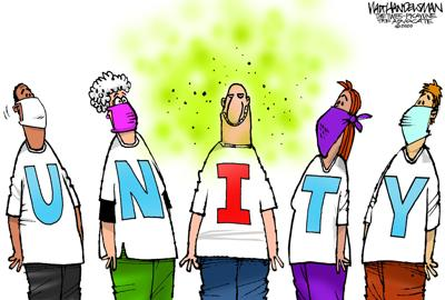 """Walt Handelsman: There's no """"I"""" in TEAM but unfortunately there is one in this word..."""