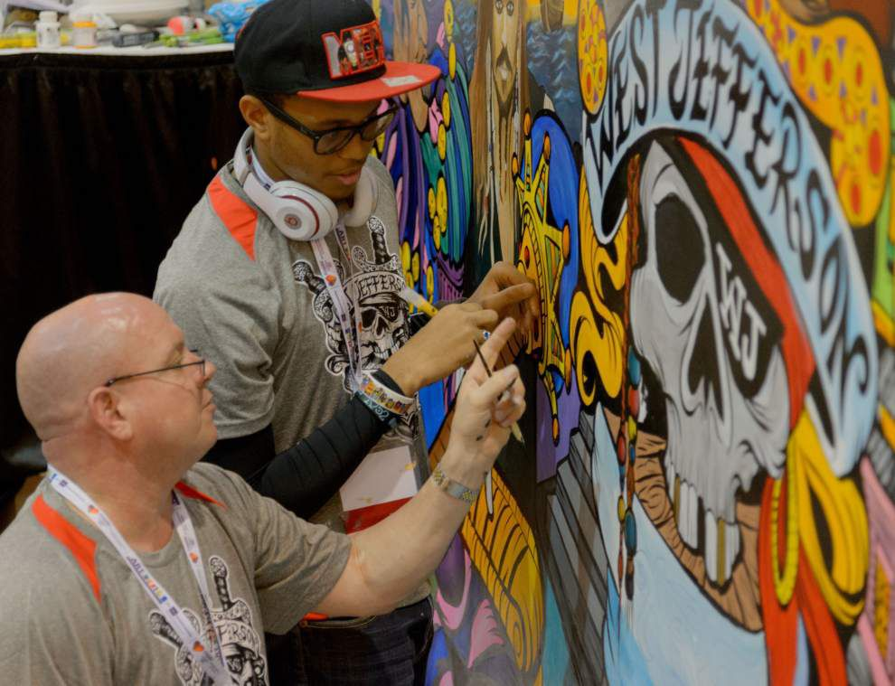 Painting a bright future: Art students, teacher create New Orleans-themed mural _lowres
