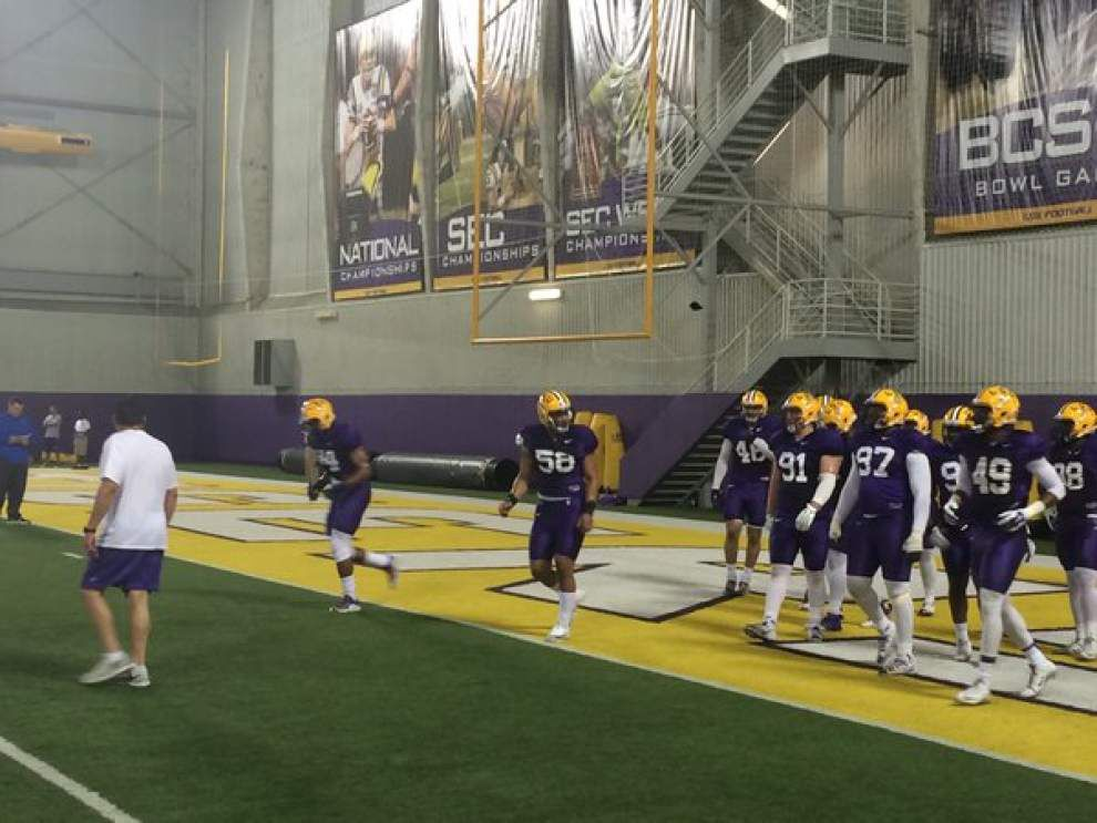 LSU spring practice observations, day 3: Corey Thompson, Foster Moreau join practice; watch QBs duel it out _lowres