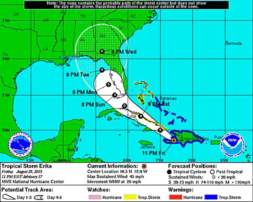 Tropical Storm Erika could reach Florida by Sunday night; cone of uncertainty now extends to Alabama _lowres