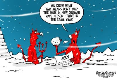 With 475 devilishly-funny punchlines sent in, look who won Walt Handelsman's latest Cartoon Caption Contest!!
