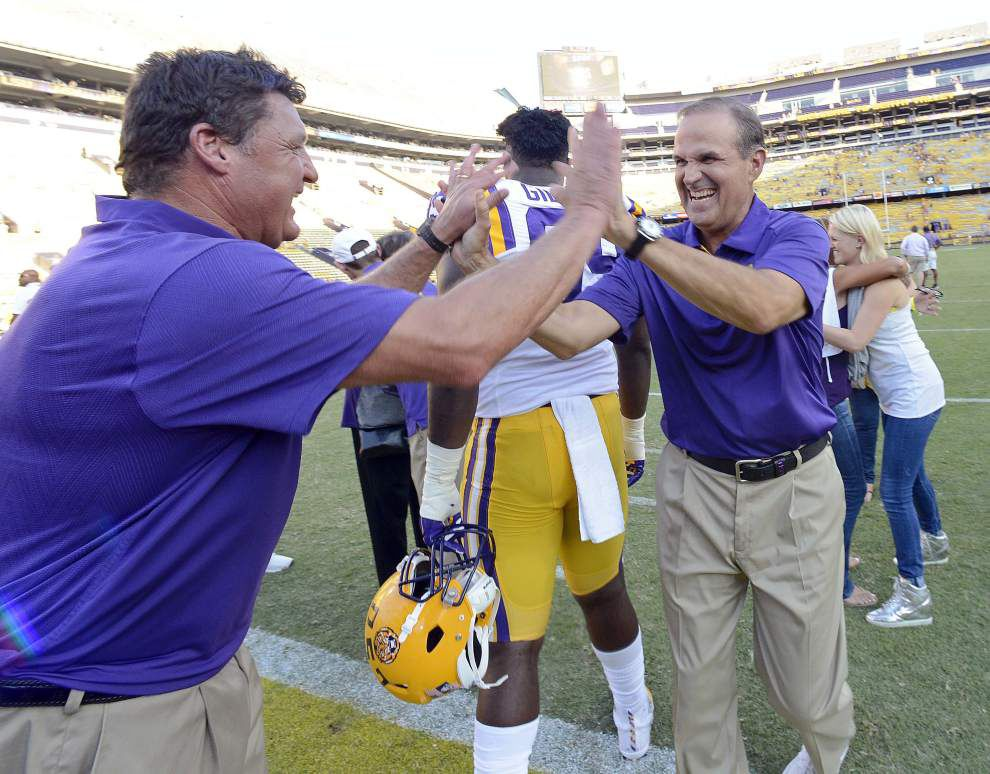 Is LSU defensive line coach Ed Orgeron on short list for vacant Southern Cal job? Report says no _lowres