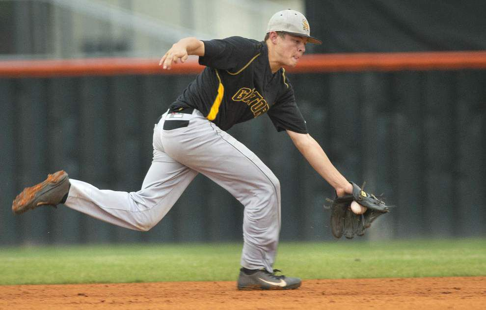 After a frightening auto wreck, St. Amant shortstop Adam Sevario is thankful to be on the field — and in the playoffs _lowres