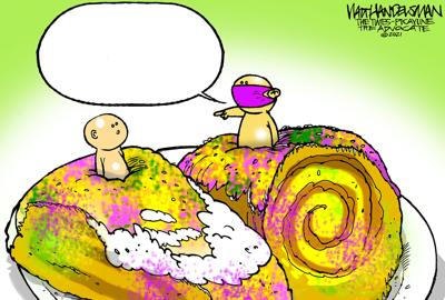 It's King Cake Time in Walt Handelsman's First Cartoon Caption Contest of 2021! Give it a try!!