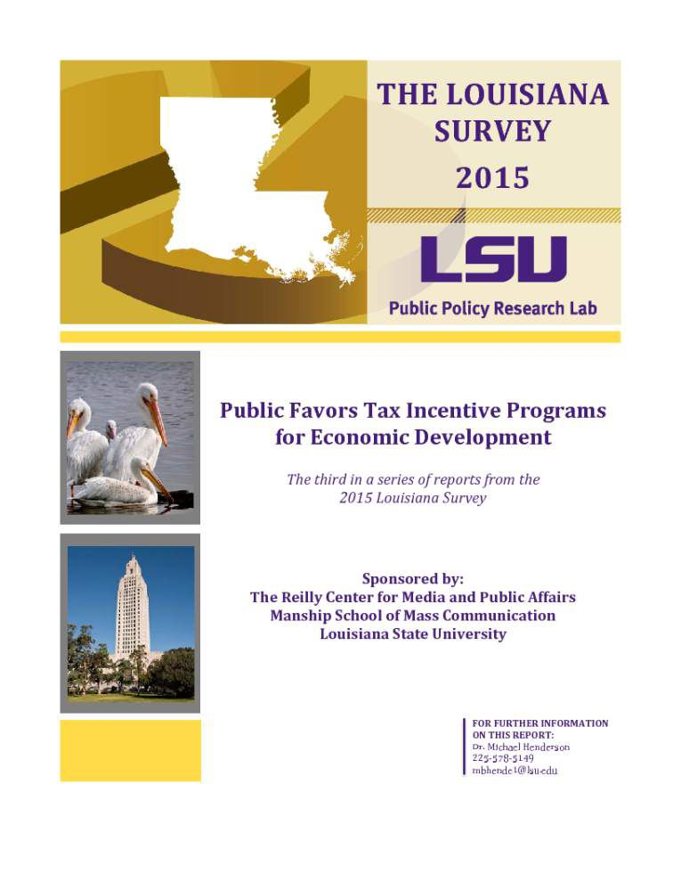 Voters back tax incentives for business, draw line at credits where Louisiana writes a check, survey says _lowres