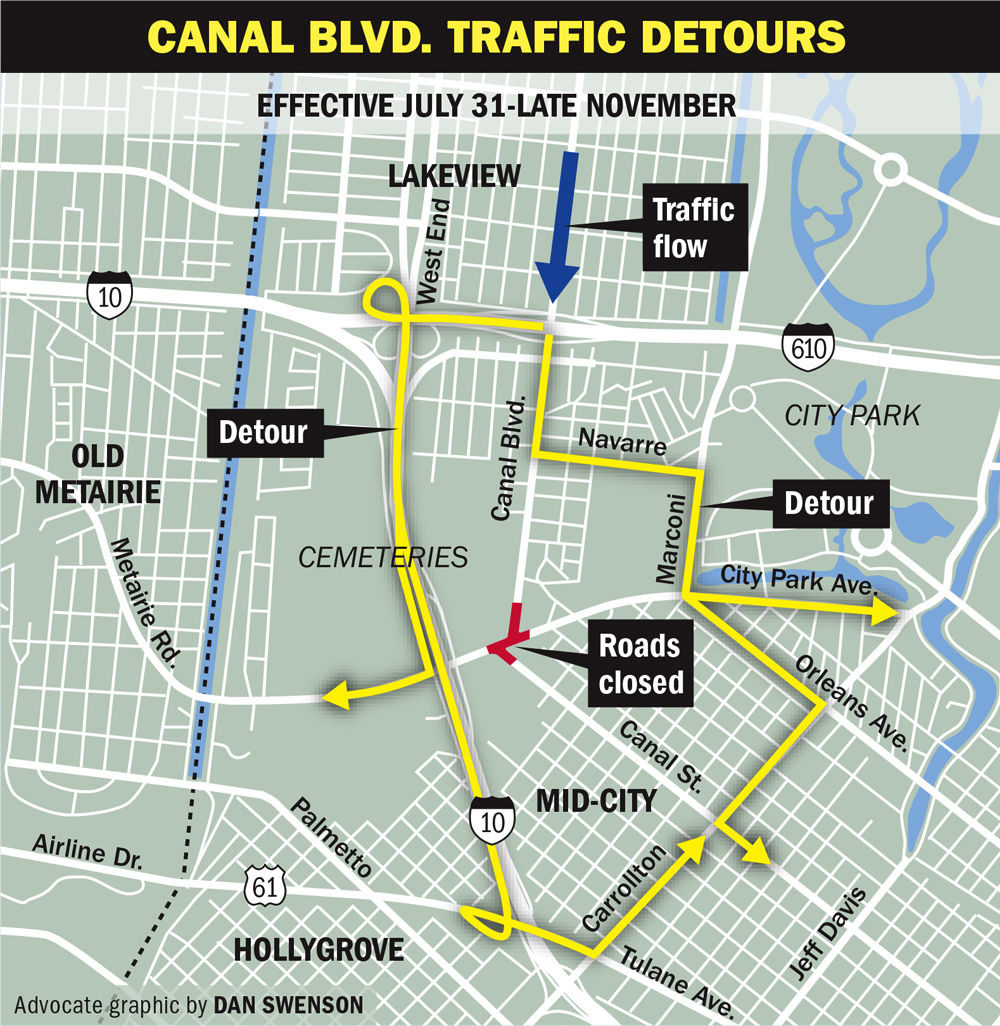 Travelers beware Detours to start Monday for Canal Street City