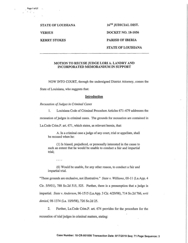 Motion to recuse 16th JDC Judge Lori Landry
