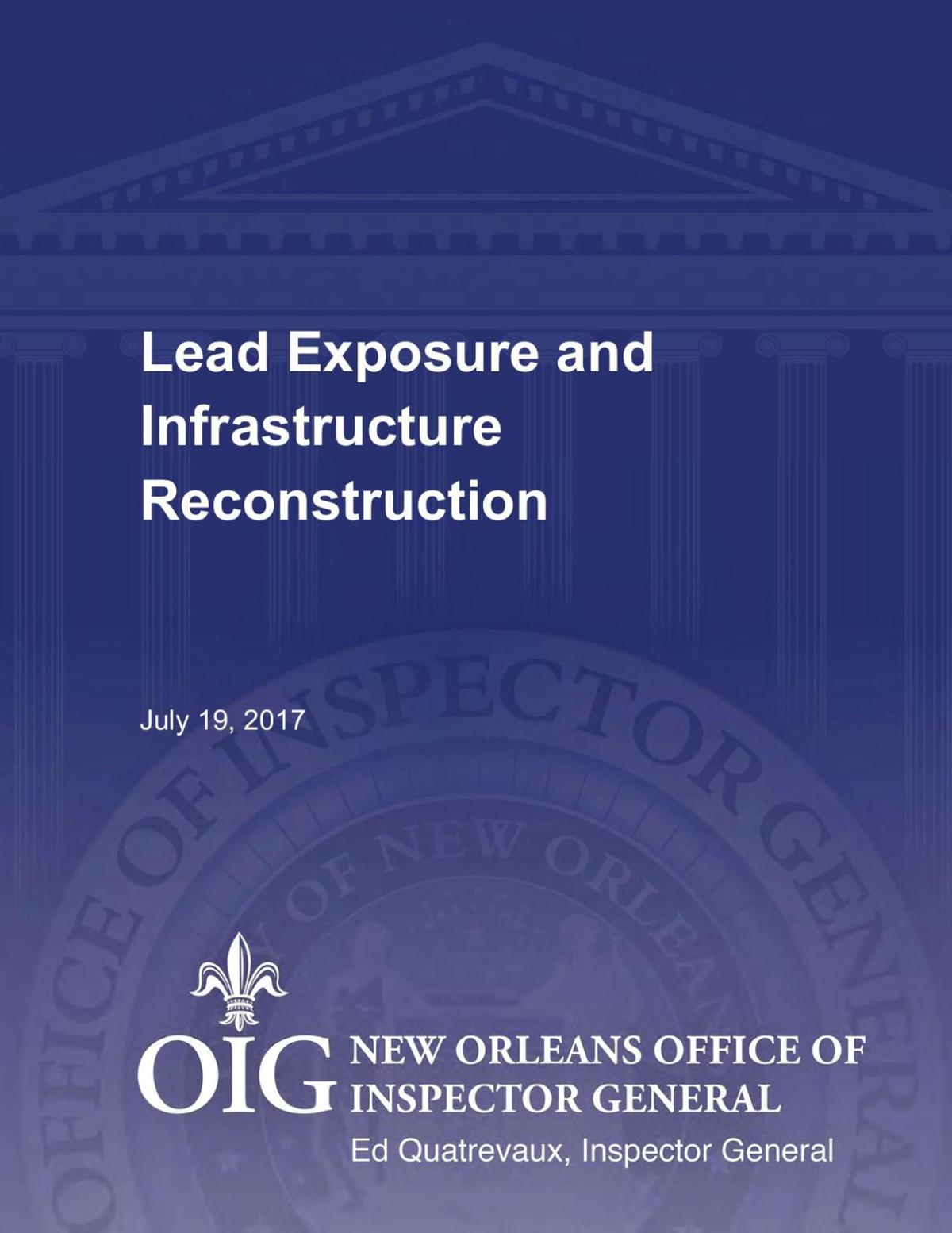 Office of Inspector General's report on Sewerage and Water Board's infrastructure program and concerns about lead contamination