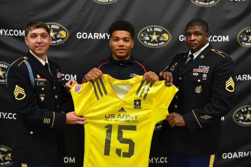 Derrius Guice receives Army All-American jersey  lowres c1f6dc4c4