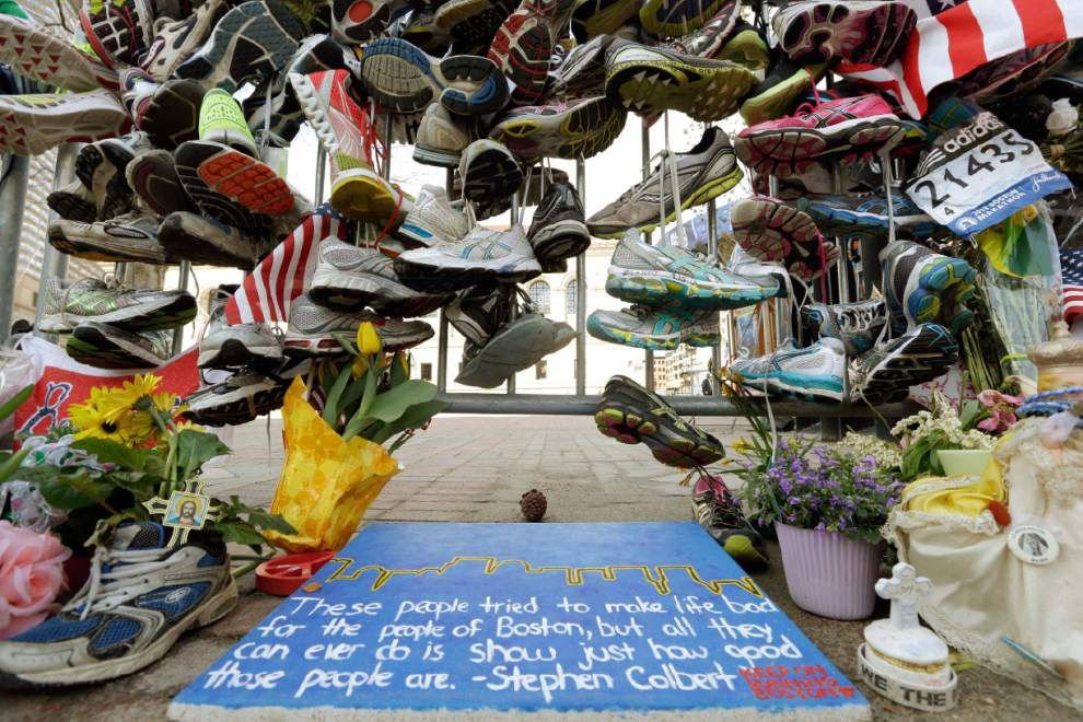Boston bombing exhibit includes shoes, runner bibs _lowres
