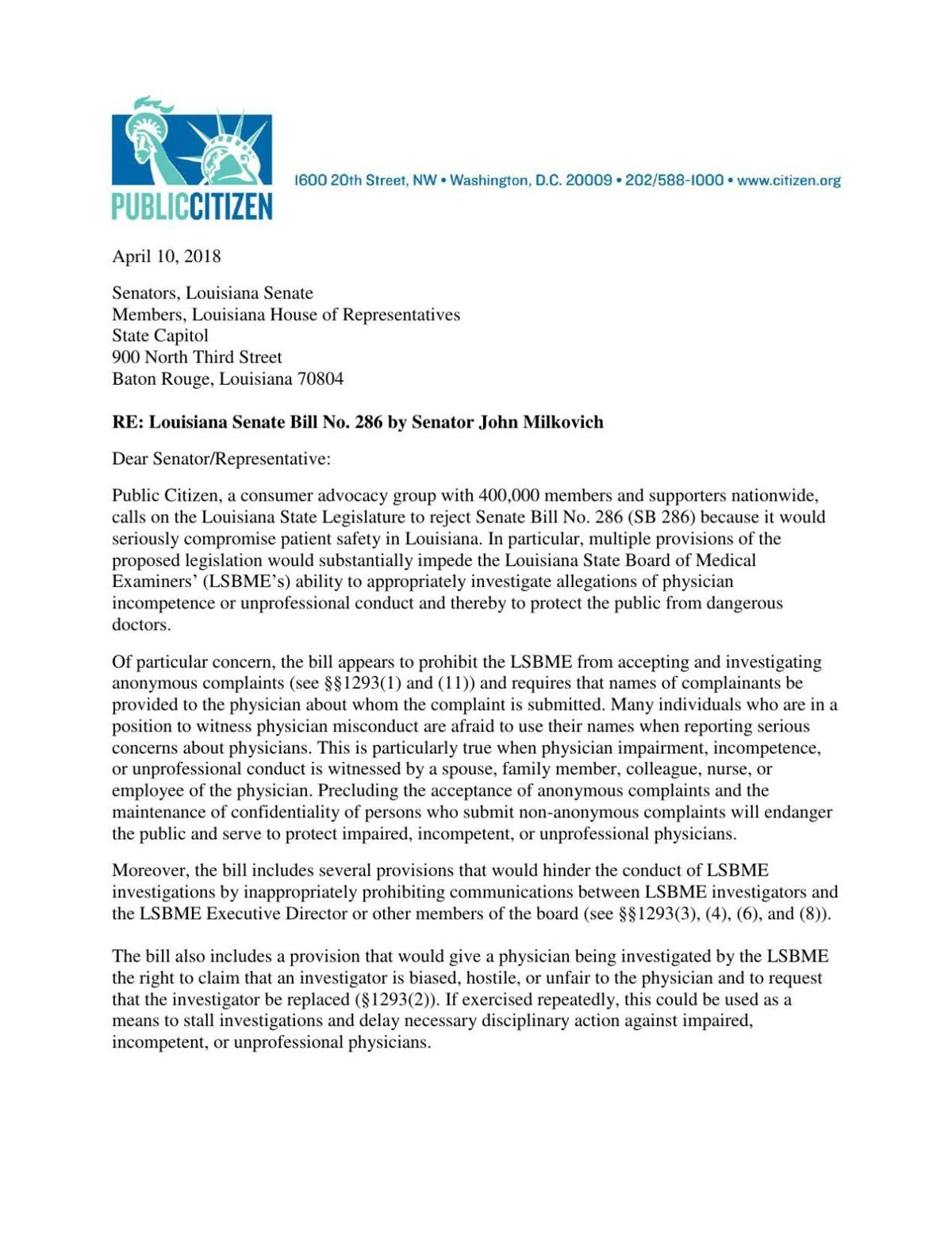 PDF: Letter from Public Citizen opposing proposed Physician's Bill of Rights