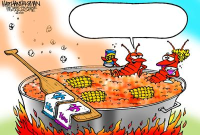 The cold snap is over and the crawfish are soaking! Can you write the funniest punchline for Walt Handelsman's latest Cartoon Caption contest?!