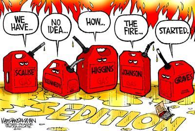 Walt Handelsman: Gas meet Fire