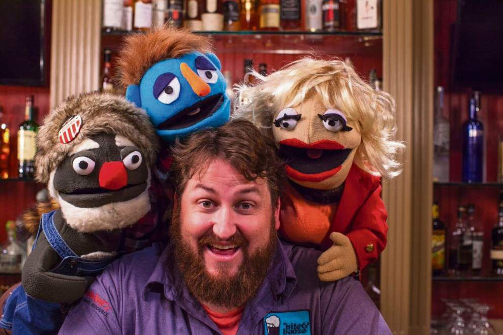 Baton Rouge's Jay Ducote, of BiteandBooze.com and 'Food Network Star,' teaches puppets the fine points of drinking alcohol on GeekNation.com show _lowres