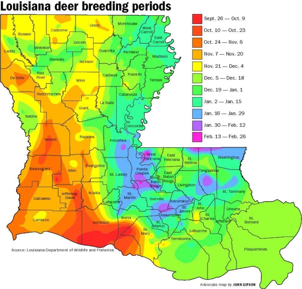 Buck breeding calendar most complete ever | Louisiana Outdoors