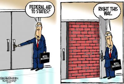 Walt Handelsman: Mitch McConnell's wall.