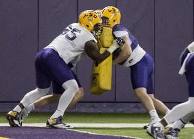 Video: LSU players participate in the Big Cat Drill _lowres