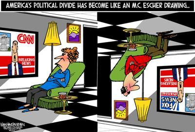 Walt Handelsman: America's Topsy-Turvy Political Divide