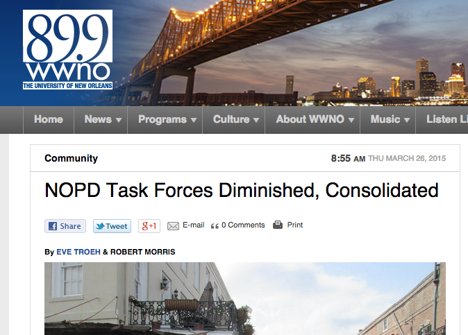 Listen: Uptown Messenger on NOPD task forces being diminished, consolidated_lowres