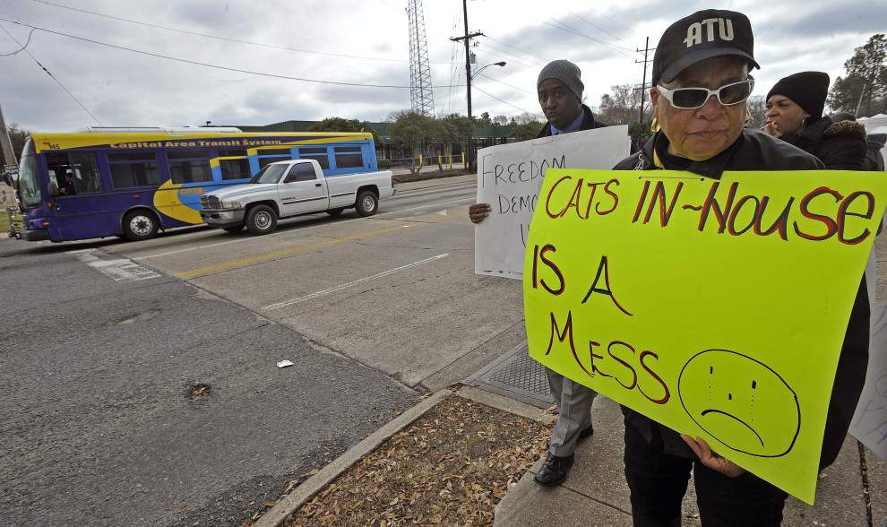 CATS drivers picket, complain about condition of buses and management practices _lowres