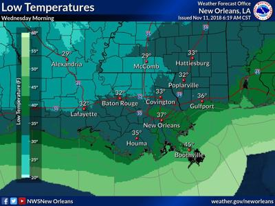 Weather Map For Louisiana.Severe Weather Freezing Temperatures Likely For South Louisiana By