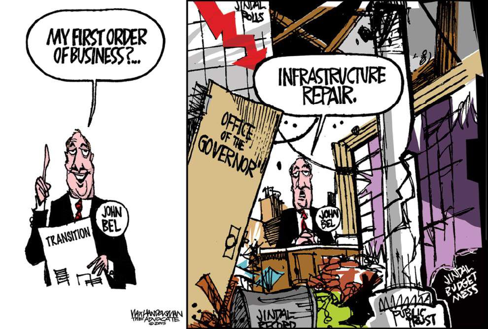 Walt Handelsman: John Bel's Transition Mode _lowres