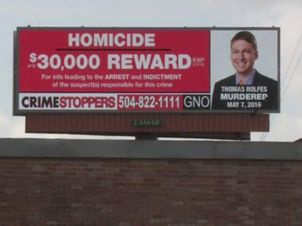 Report: Crimestoppers signs pop up seeking information in Thomas Rolfes' death _lowres