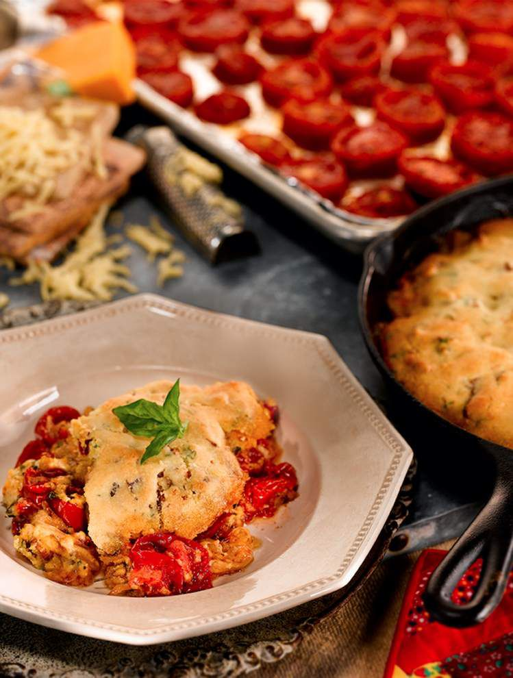 Roasted Tomato and Bacon Cobbler _lowres