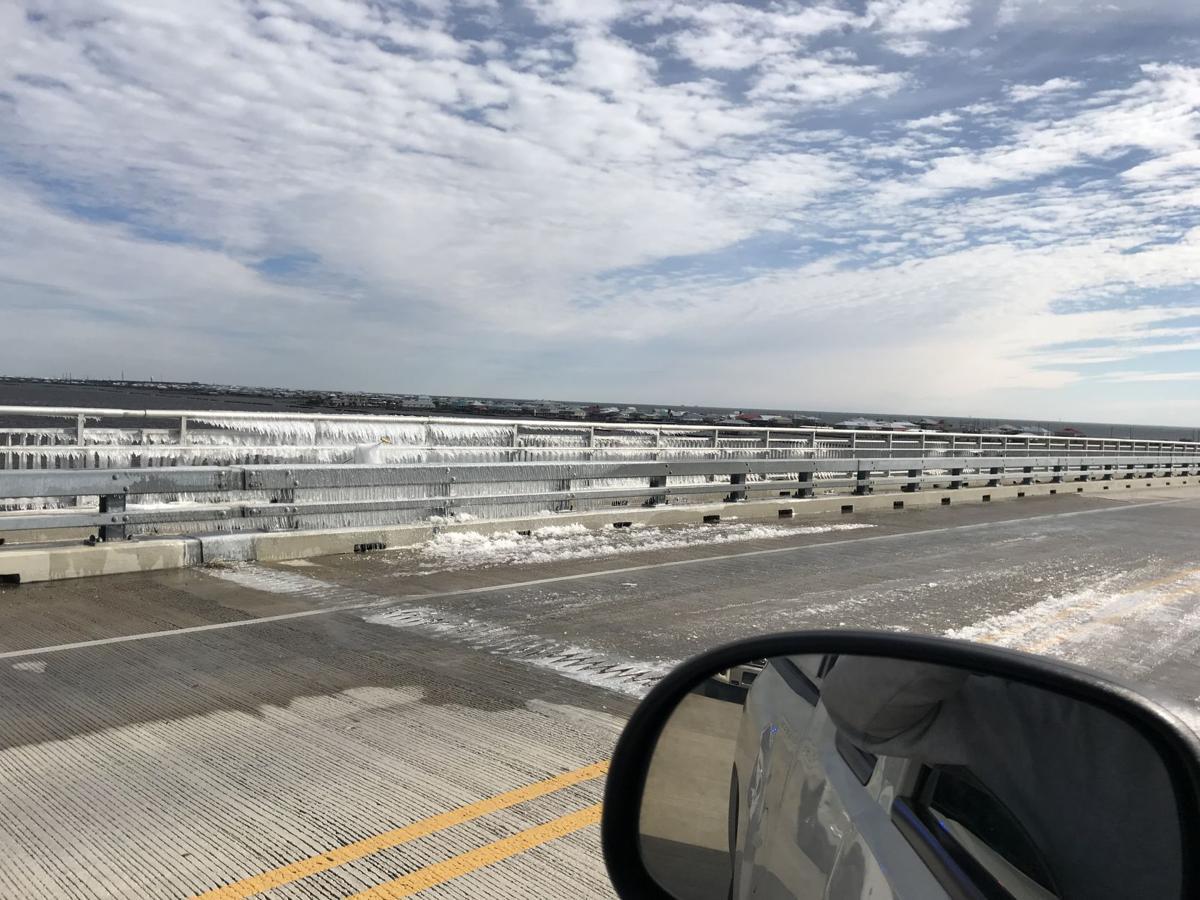 Ice on Grand Isle Bridge