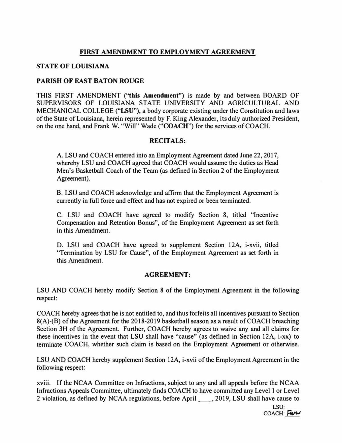 PDF: Amendment to Will Wade's contract