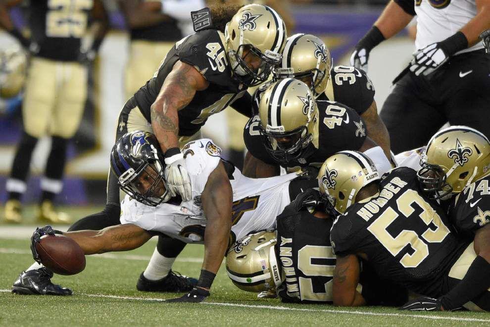 New Orleans Saints rookies get their feet wet in preseason opener against Baltimore Ravens _lowres
