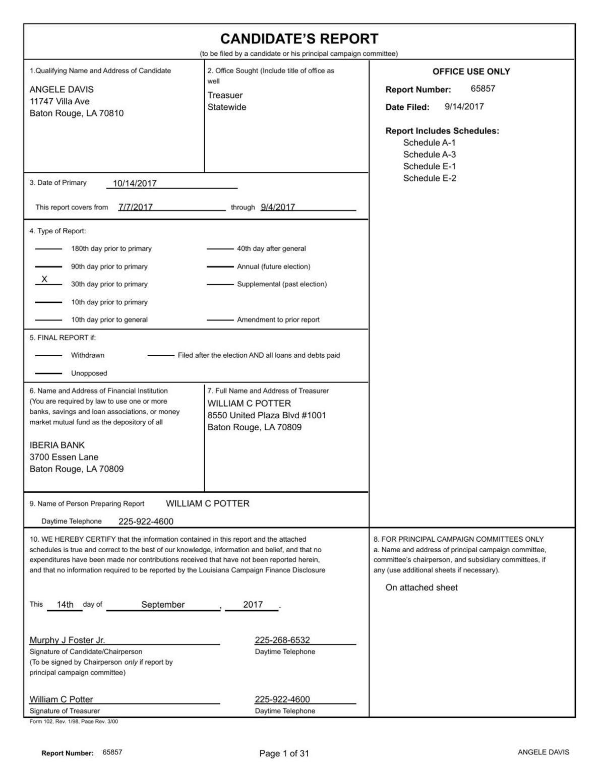 Angele Davis Campaign Finance Report 091417