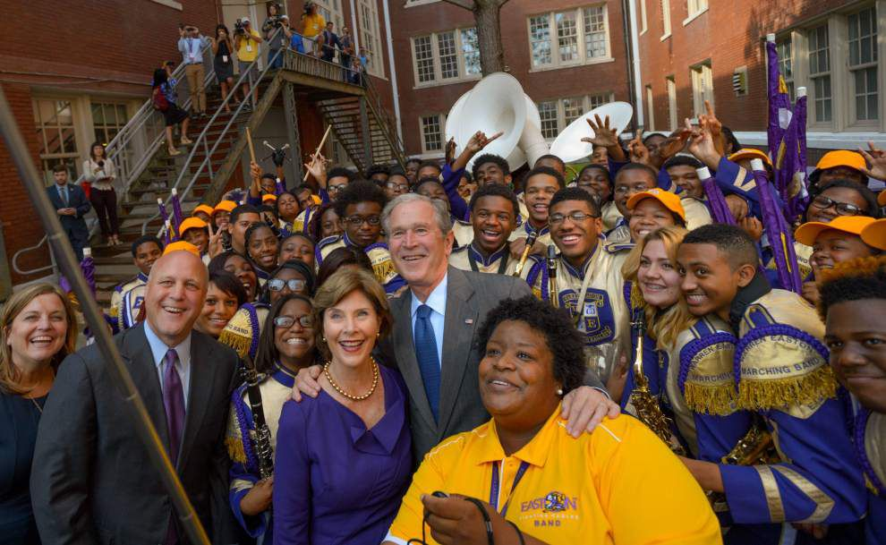 Ex-President Bush marks Katrina anniversary in New Orleans _lowres