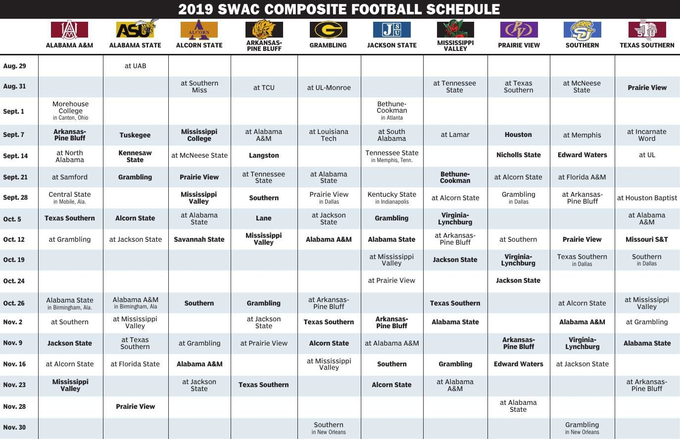 graphic regarding Printable College Football Schedules identify Printable school soccer schedules for SEC, SWAC, other