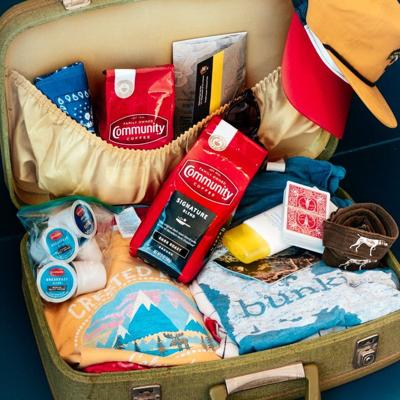 community coffee suitcase