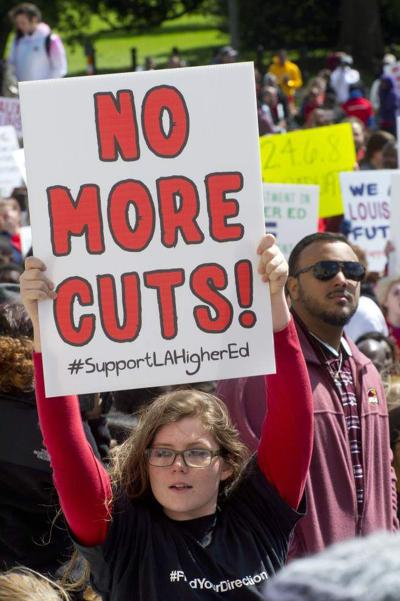 Thousands of Tigers, Cajuns, Jaguars rally at Capitol to protest proposed cuts to Louisiana higher education _lowres
