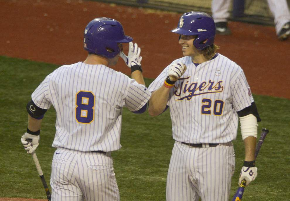 Pitcher Kyle Bouman's solid outing backed up by torrid LSU bats; Tigers cruise to 11-2 win over Lamar _lowres
