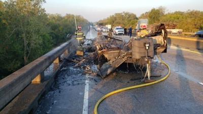 vehicle fire on I-10 at Whiskey Bay