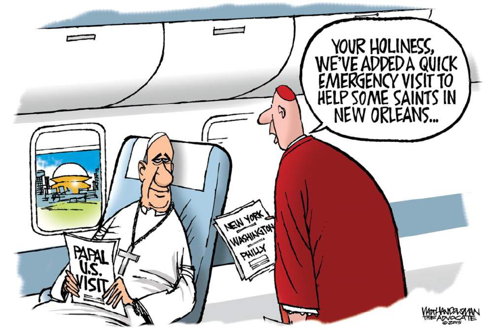 Walt Handelsman: Where is the Pope's NEW itinerary taking him? _lowres