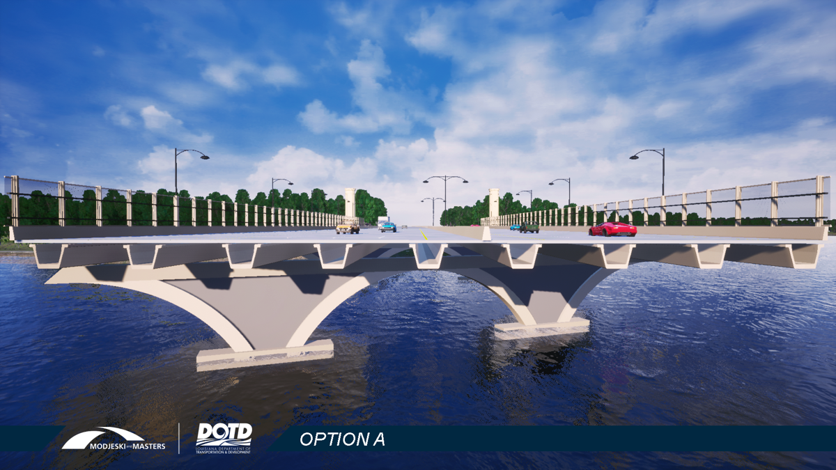 Option A for Interstate 10 bridge crossing City Park Lake