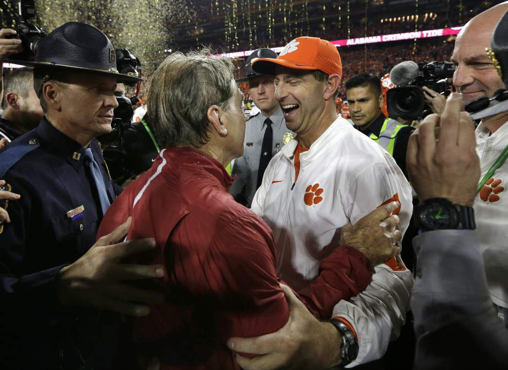 Scott Rabalais: Crimson Tide didn't simply roll to its 4th title in 7 years, making Monday night's 45-40 victory over Clemson extra special _lowres