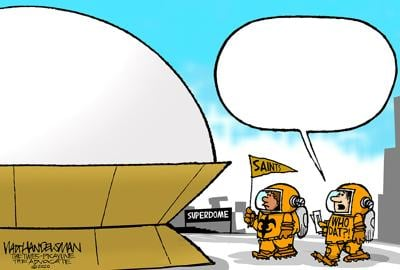 Who Dats head into the Dome in Walt Handelsman's latest Cartoon Caption Contest!!