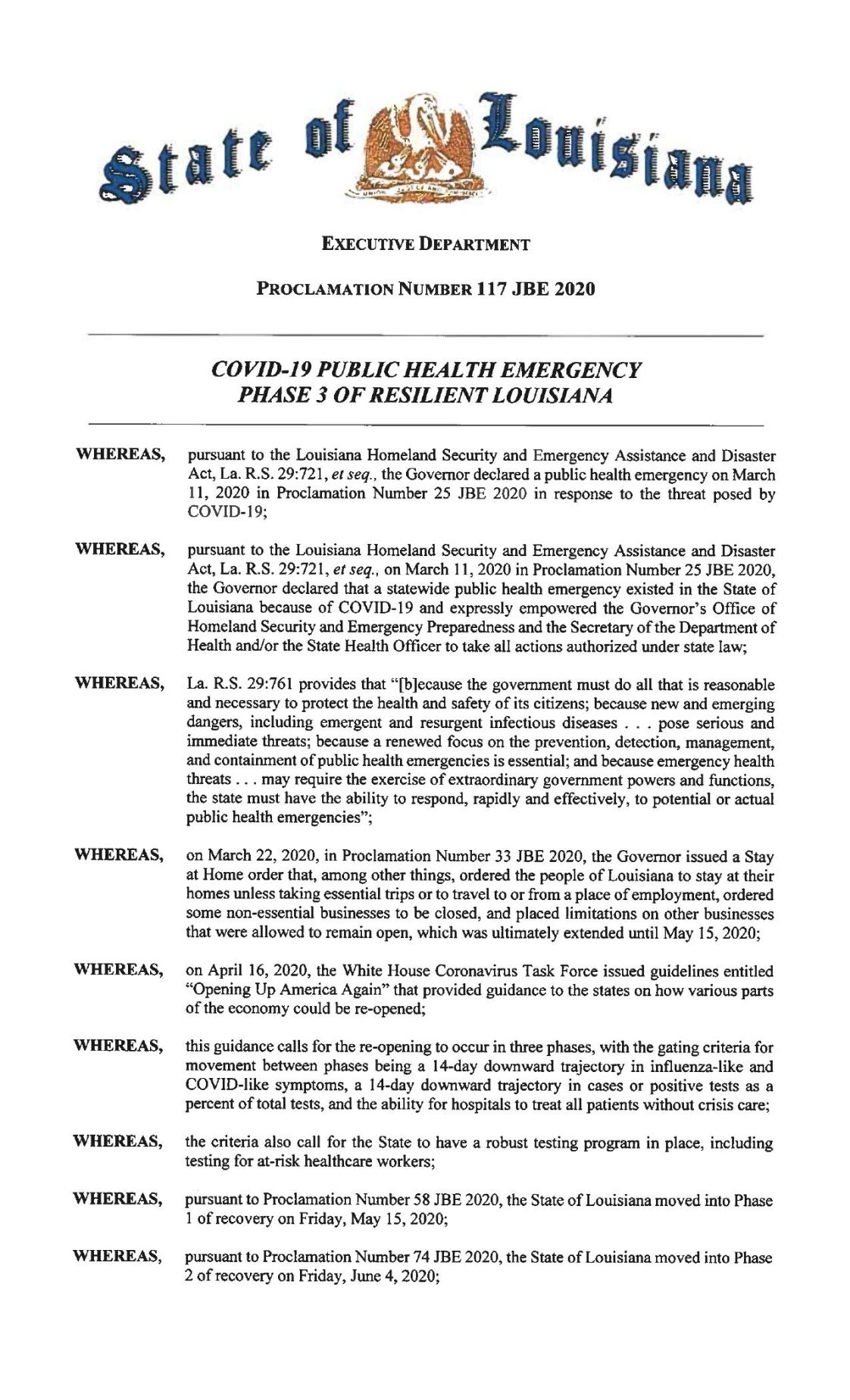 Phase 3 coronavirus reopening order