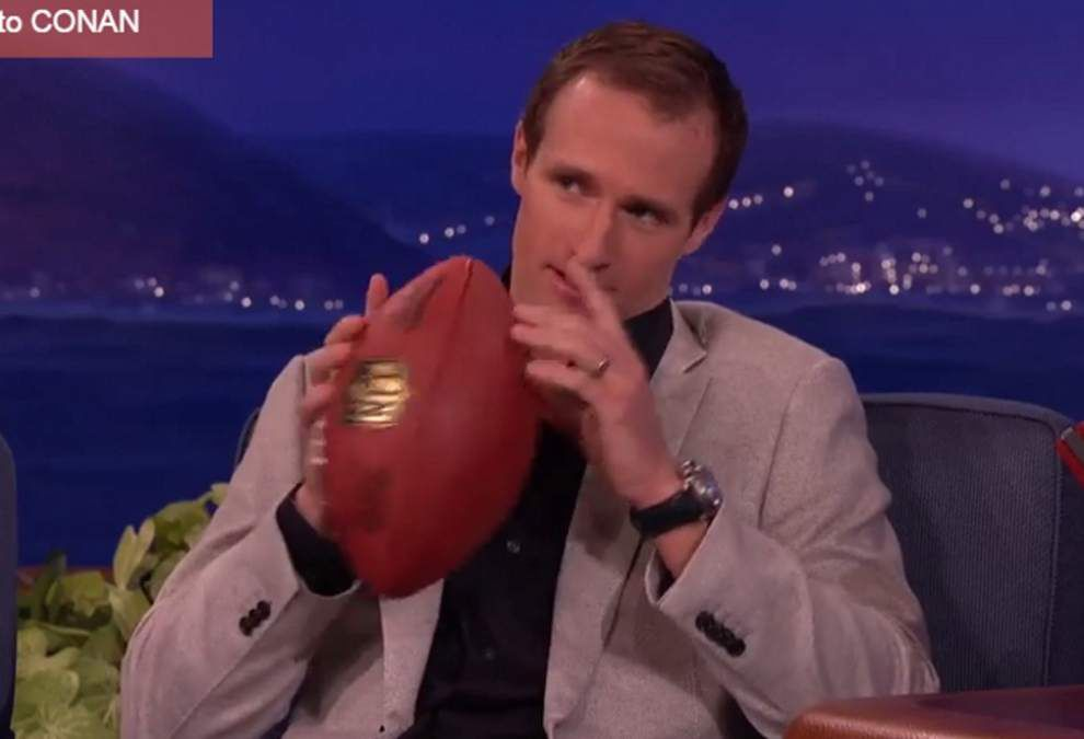 Saints' Drew Brees discusses 'Deflategate' on 'Conan' _lowres